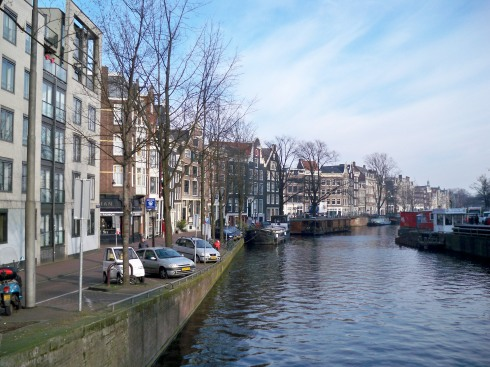 Beautiful gabled houses along the canal